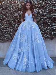 Wholesale gold baby dress - Beautiful Baby Blue Prom Dresses With Lace Appliques Off The Shoulder Floor Length Elegant Formal Party Gowns PD1123