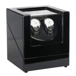 Wholesale Woods Motors - Classical EU 2 Slots Battery Plug Suitable Watch Winder Box Black Wood Paint Rotation Watch Winder Case Motor for Watch Shop Display&Storage