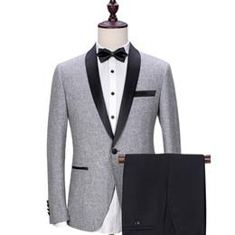 Gris Mariage Groom Tuxedos 2018 Noir Châle Revers Trim Fit Hommes Costumes Sur Mesure Business Party Groomsmen Costume (Veste + Pantalon) ? partir de fabricateur