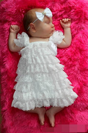 Wholesale Girls Tiered Suspender Dress - 2015 New Baby Girl Dresses Bowknot Lace Tiered Dress Princess Dresses 1-8T 1051