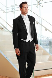 Wholesale Slim Tailcoat - In stock Black white tailcoat 2016 Custom made Wedding Suits For Men Men Slim Fit suit Wedding Tuxedos For Men Jacket+Pants
