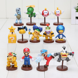 Wholesale Mario Bros Star - Newest Set of 13 Super Mario Bros Wii Collection Toy Figures penguin mushroom star Bowser Princes