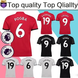 Wholesale Premier League Football Jerseys - POGBA Home red Soccer Jersey 17 18 have Premier League patches LUKAKU away black soccer shirt 2018 RASHFORD third Football