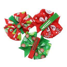 Wholesale Blue Grosgrain Ribbon - 6 style Christmas barrettes hair accessories 7*8cm Grosgrain ribbon bowknot hair clips accessories grosgrain with alligator clips