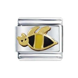 Canada Bracelet de breloques italiennes Nomination avec placage à l'or et émail jaune noir de 9 mm de taille classique Offre