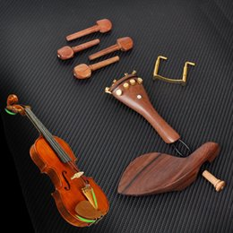 Wholesale Violin Parts Tailpiece - Wholesale-New Rosewood 4 4 Violin Parts Fittings Chinrest Pegs Tailpiece Tuners Endpin