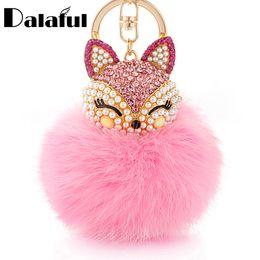 Wholesale Green Fox Fur - beijia Lovely Fox Rabbit Fur Ball Fluffy Key Chains Rings Crystal Hotsale Bag Pendant Keyrings KeyChains For Women K283