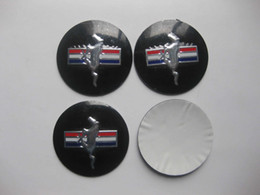Wholesale 55mm Wheel Caps Sticker - 4pcs 55mm Wheel Center Hub Caps Running Horse Emblem Badge Sticker For Mustang