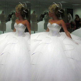Wholesale Wedding Dress Simple Ballgown - 2016 Bling Bling big poofy wedding dresses Custom Made Plus Size Tulle Ball Gown Beads Crystal vestidos de novia puffy Ballgown Dress