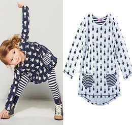 Wholesale Bunny Clothing - Retail Bunny printed girls winter dress 2016 autumn style long sleeve children's dresses Cartoon Animal Rabbit baby girl clothing 201510HX