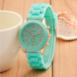 Wholesale jelly watches for women - Factory outlets drop shipping wrist watches women men geneva watch rubber candy jelly fashion unisex silicone quartz for couple watches