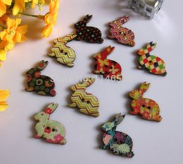 Wholesale Wooden Rabbit Shapes - New wooden buttons 200PCs MIXED Colors Lovely Rabbit Shape 2 Hole Scrapbook sewing accessories 31mm x31mm Free Shipping