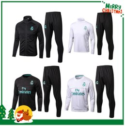 Wholesale Black Track Suits - 17 18 Tracksuit jacket Track suits sport wear shirt Benzema Ronaldo ASENSIO MaDRid Modric Kroos Ramos Bale Marcelo james 2017 2018 Real
