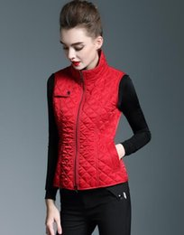 Wholesale New Fashion Coats For Women - NEW! women classic fashion short style cotton padded vest coat brand designer slim fit winter vest for women size S-XXL 5 colors B6916F220