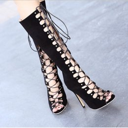 Wholesale Boots Celebrities - New Arrival Celebrity Brand New Designer runway Women gladiator roman knee high cut hollow out bandage cut out faux suede boots