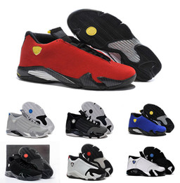 Wholesale Fusion Shoes - High Quality Retro 14 Men Basketball Shoes 14s Fusion Varsity Red Suede Thunder Black XIV Playoffs Sneakers