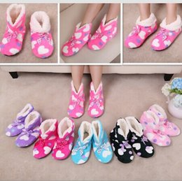 Wholesale Girls Wearing Canvas Shoes - Wholesale- 2014 New Girl Lovely 3D Home Plush Slippers TWO way Wear Shoes,Heart Bow Indoor Slippers Soft Bottom Floor Mop Slipper ,6 colors