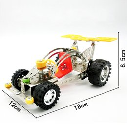 Wholesale assembly car - Carden Car Model Building Blocks DIY Metal Stainless Steel 3D Assembly Toys For Baby Early Childhood Toy Bricks New LX018 B