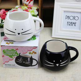 Wholesale Tea Cups Animals - 2017 Hot Novelty Cute Cat Animal Milk Mug Ceramic Creative Coffee Porcelain Tea Cup Free DHL XL-316