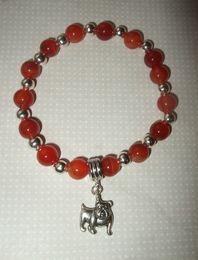 Wholesale Vintage Glass Plates Silver Set - Fashion Vintage Silver Bulldog Dog Charms Pendants Red Glass Bead Good Luck Bracelet &Bangle DIY Jewelry Findings Girls Bijoux 10Pcs N893