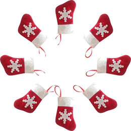 Wholesale Flocked Cloth - Red Santa Socks Cultery Bag Knife Fork Holders Christmas Tree Party Decorations 1200pcs