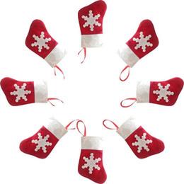 decorazione dei calzini di santa Sconti Rosso Santa Socks Cultery Bag Knife Fork Holders Albero di Natale Decorazioni per feste 1200pcs