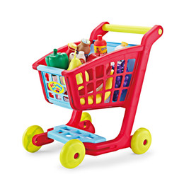Wholesale Mini Supermarket Cart - Wholesale- Kids Simulate Supermarket Shopping Cart Trolley Pretend Play Toys Set Children Mini Plastic Trolley Play Toy Gift For Children
