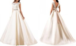 Wholesale Simple Sexy Dresses For Sale - 2016 New Vintage Wedding Dress Capped Sleeve Amelia Sposa Wedding Gowns Beaded Wedding Dresses Sashes Satin Bridal Gown Cheap For Sale