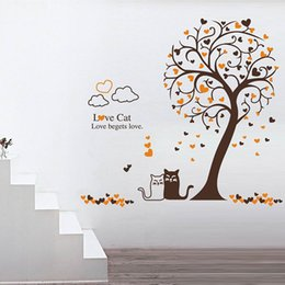 Wholesale Abstract Background Wallpaper - Cartoon Loving Cat under Tree Wall Art Mural Decor Removable PVC Art Decal Living Room Sofa Background Wallpaper Decoration