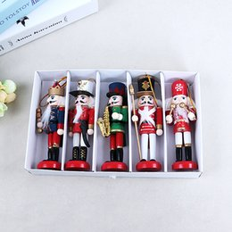 Wholesale Doll Draw - 5 PCS Nutcracker Puppet Zakka Creative Desktop Decoration 12cm Wood Made Christmas Ornaments Drawing Walnuts Soldiers Band Dolls