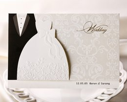 Wholesale Personalized Dresses - Personalized Wedding Invitations Cards Traditional Tuxedo Dress Bride & Groom Design DIY Wedding Invitations Cards With Blank Page Printable