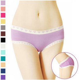 Wholesale Womens Cute Panties - New Cute Heart Womens Lady Girls Knickers Panties Underwear Modal Briefs Low Waist Lingerie High Quality
