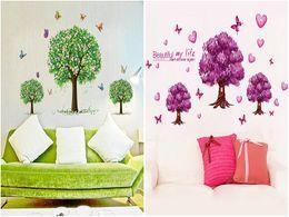 Ordenar mariposas online-DHL EMS pegatinas de pared árbol de vivero Mezcla orden Extraíble PVC mariposa flor tatuajes de pared decoración para el hogar bebés tatuajes de pared papel pintado arte de la pared