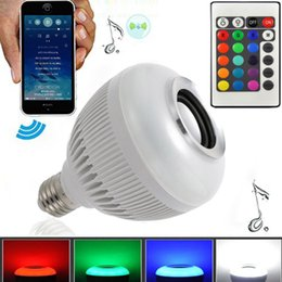 Wholesale Led Rgb Iphone - Free DHL Colorful RGB LED Bluetooth Bulb Wireless Music Audio Speaker For iPad iPhone Smartphone Laptop E27 6W Bulbs