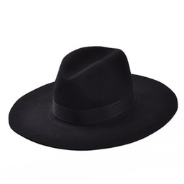 Wholesale Wide Hats - Wholesale-Fashion Vintage Lady Girls Wide Brim Wool Felt Fedora Hat black Floppy Cloche, cowboy hat for men and women Free Shipping