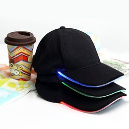Wholesale Red Hat Fabric Wholesale - 3 Colors For Choose Fashion LED Lighted Glow Club Party Sports Athletic Black Fabric Travel Hat Cap
