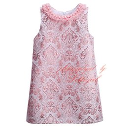 Wholesale Girls Stylish Clothes - Pettigirl 2016 Hot Sellers Pink Girls Spring Vintage Dress Stylish Baby Jacquard Weave Dress Wholeasle Kids Clothes GD81024-125Z
