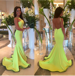 Wholesale Orange Feather Brooches - Sexy Backless 2016 Prom Dresses Mermaid Formal Evening Dresses With Crew Neck Sleeveless Floor Length Satin Cheap Long Ball Gown Custom Made