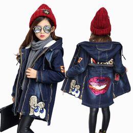 Wholesale Denim Jacket Lining - 2017 New Winter Kids Girls Denim Jacket Children Plus Thick Velvet Jacket Big Virgin Warm Coat Cotton Hooded Outwear For Girl