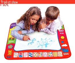 Wholesale Aquadoodle Draw - Hot 78X58cm Russian Kids Drawing Board With Magic Pen Painting Childs Drawing Mat Water Aquadoodle Mat Learning Painting Play Board SV013625