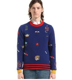 Wholesale Autumn Material - Autumn Men's Sweater Bee Tiger Snake Pattern Embroidery Cashmere Material Fashion Sweaters Dark Gray And Blue Two Colors