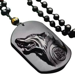Wholesale Natural Gemstone Carved Pendants - Pure Hand Carved Natural Obsidian Howling Wolf Head Amulet Necklace Pendant Women Mens Jade Gemstone Jewelry Gift