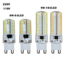 Wholesale Led G9 9w - G9 6W 9W LED Bulb Lamp 3014 SMD AC 200V 240V Sillcone Body LED Corn Bulb 64LEDs 104LEDs Crystal Chandelier COB Spot Light Warranty 2 Years