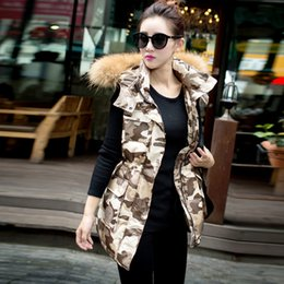 Wholesale Russian Camouflage - Wholesale-Fashion camouflage Russian style winter down jacket vest women clothing with fur collars