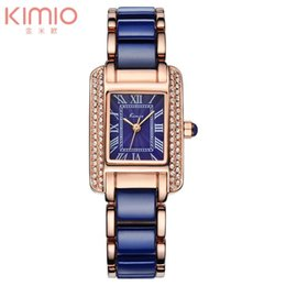 Wholesale Rubber Rectangle - Kimio Rectangle Dail Watch White Ceramic Wrist Watches Quartz Women Casual Watch Full of Crystal