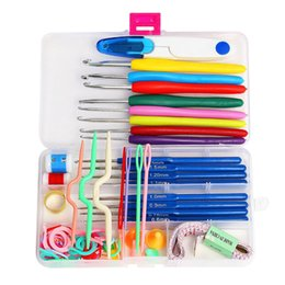 Wholesale Crafts Accessories - 1 Set Crochet Hooks Needles Knit Kit Stitches Knitting Craft Case Quality Crochet Set in Case Yarn Hook Stitch Weave Accessories