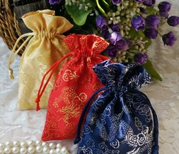 Wholesale Chinese Brocade Pouches - Free Ship 50pcs Handmade High quality 9*13cm Chinese Dragon Brocade Brocart Bag Jewelry Bags Candy Bags Beads Bags Wedding Party Gift Bags
