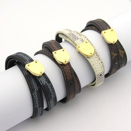 Wholesale Black Metal Bangles - Top Quality 316L Titanium steel geniune leather bracelet with metal clasp 1.2cm width brand name18K Gold bangles for women Fashion jewelry