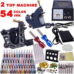 Wholesale Top Starter Tattoo Guns - Professional Complete Tattoo Kit Tattoo Starter Set Body Art kit 2 Top Machines Guns 54 Colors Ink YLT-60 Free Shipping