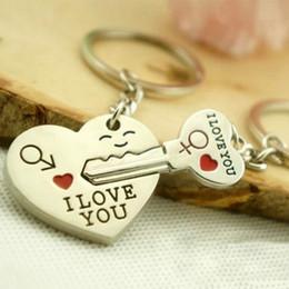 Wholesale I Love Keyrings - New Couple I LOVE YOU Heart Keychain Ring Keyring Key Chain Lover Romantic Creative Birthday Gift